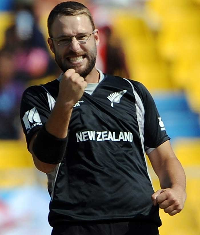 It was Daniel Vettori's spin though that caused the maximum damage. He picked up two quick wickets including the controversial wicket of captain Elton Chigumbura who was more than 2.5m away from the wicket when the ball hit his pad. (Getty Images)