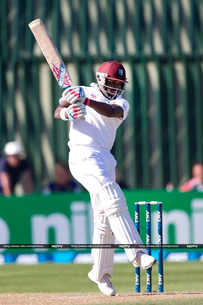 Kirk Edwards and Darren Bravo (in pic) steadied the innings, putting on 117 for the second wicket before the leg spin of Ish Sodhi trapped Edwards in front for 59. Bravo was not out 72 with Marlon Samuels on 17 at stumps.