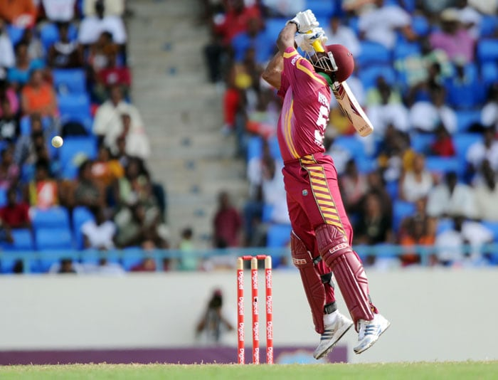 West Indies cricketer Kieron Pollard plays a shot during the second One Day International match between West Indies and South Africa.(AFP PHOTO)