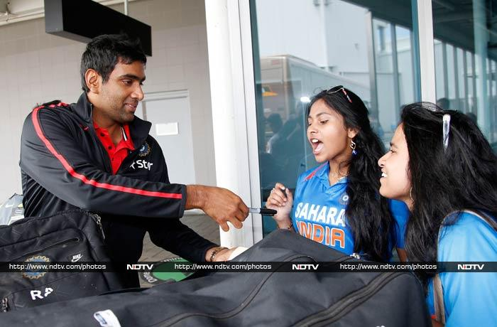 R Ashwin is happy to oblige fans with his autograph.