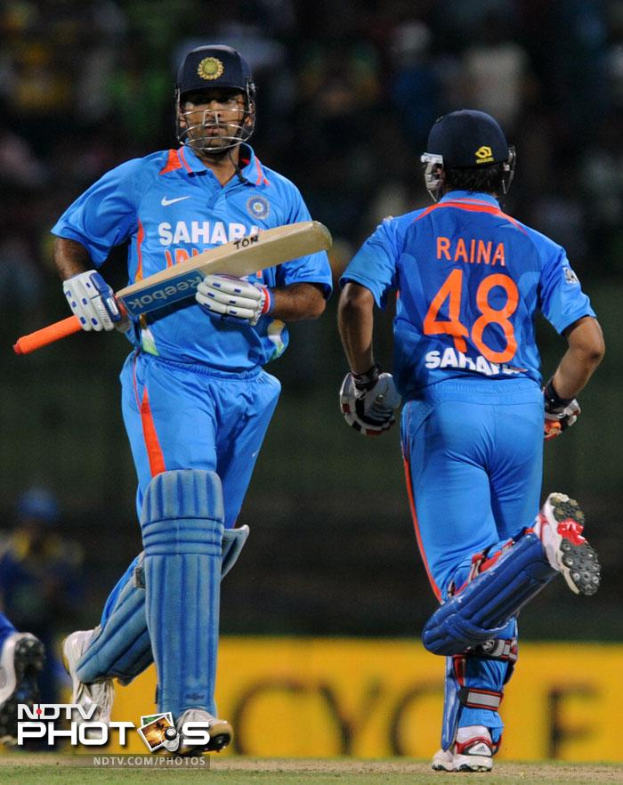 Indian fans could not have asked for a better pair than skipper Mahendra Singh Dhoni and Suresh Raina to finish off the innings in a flurry. Both of them tried hard but could manage just 26 in the 3.3 overs they batted together. A total of 155 was all India could manage.