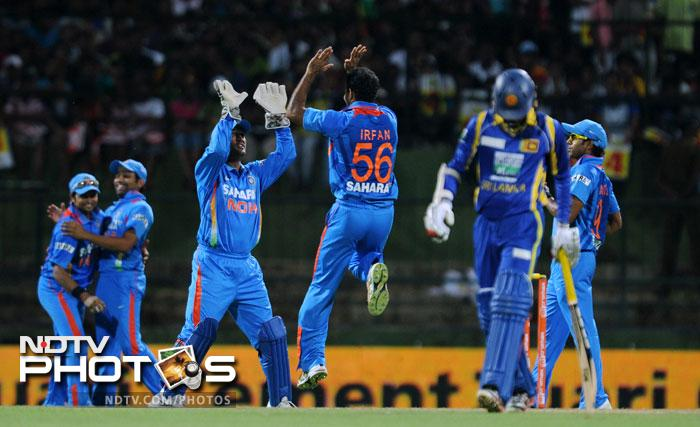 After removing Dilshan, Pathan got the better of Upul Tharanga caught safely by Raina to leave Sri Lanka in trouble.