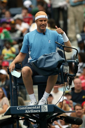 Actor Will Ferrell gives a thumbs up from the umpires chair during Arthur Ashe Kid's Day at the 2009 U.S. Open at the Billie Jean King National Tennis Center in the Flushing neighborhood of the Queens borough of New York City. (AFP Photo)