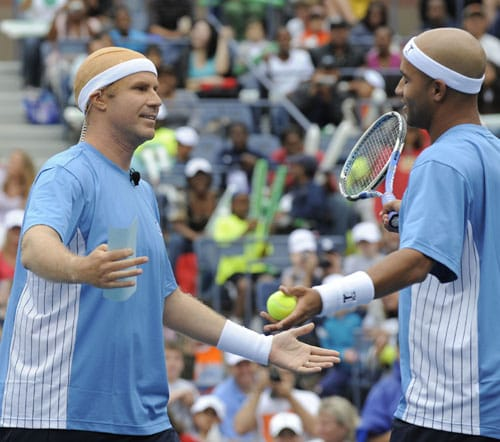 Actor Will Ferrell and US tennis player James Blake joke during the Arthur Ashe Kids Day at the USTA Billie Jean King National Tennis Center in Flushing, New York. (AFP Photo)