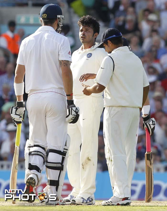 The first blood was drawn by S Sreesanth as the day's play began. He removed James Anderson from the crease and bid him farewell with a fierce stare.