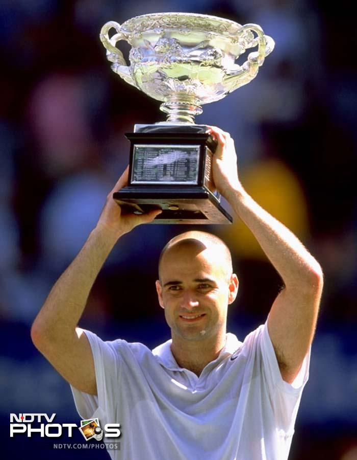 <b>Andre Agassi - Australian champion 1995, 2000, 2001, 2003</b><br><br> His debut here in 1995 was one of the most eagerly awaited matches Down Under. The American did not disappoint and defeated defending champion Pete Sampras in the final match. His next came half a decade later. He was not a yearly entry from here on but managed to take the trophy twice in the new millennium.