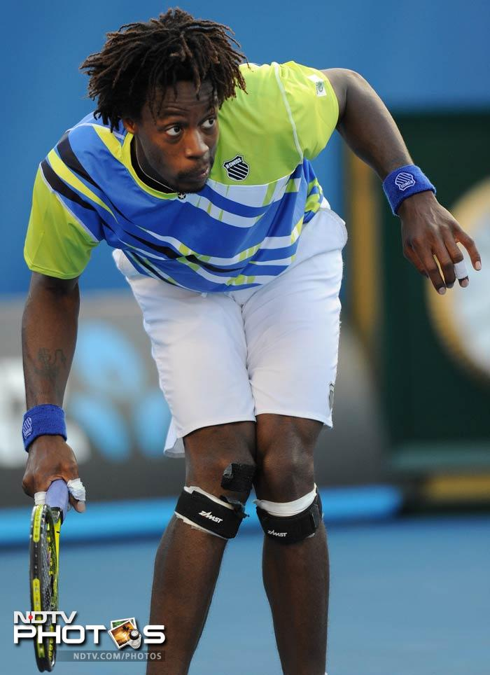 The usually emotive Gael Monfils snapped in one of his quieter moments. Monfils tiptoed his way out of the tournament after a five-set loss to Mikhail Kukushkin in the third round.
