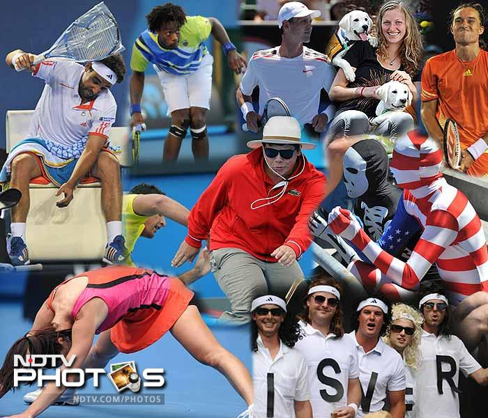 Sportspersons don't have the luxury of being snapped looking their best always as actors do. Sweaty and tired rules the roost but sometimes it gets even worse. Here are some interesting snapshots, of players and fans, from the 2012 Australian Open. (ALL AFP IMAGES)