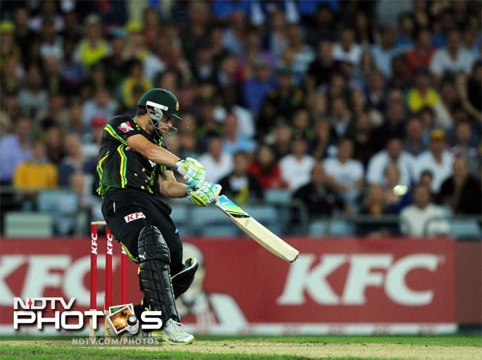 Matthew Wade of Australia hits out against India during the Twenty20 cricket match in Sydney.