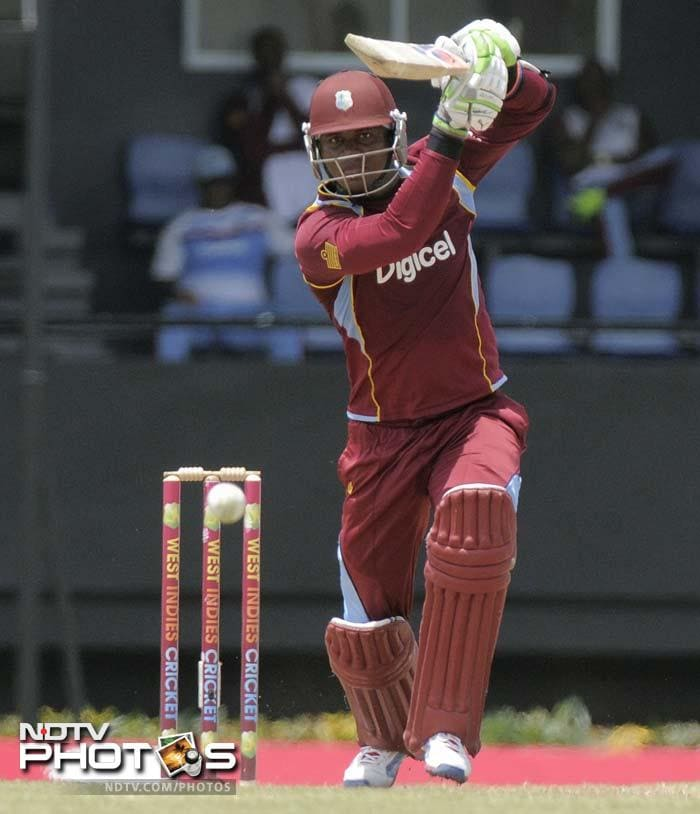 Marlon Samuels en route to a patient 45 from 89 deliveries. His knock, couples by Johnson Charles' 43 and Dwayne Bravo's 27-ball 48 helped the hosts post 242.