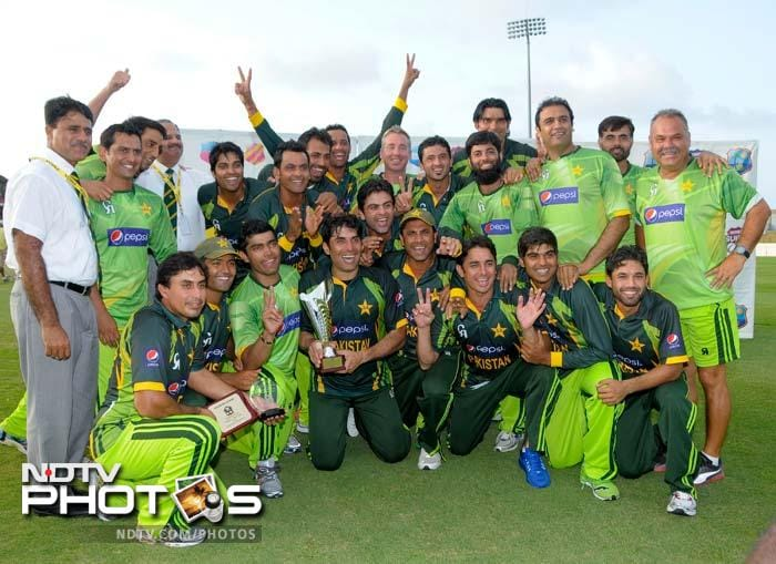 Pakistan team pose for the cameras after winning the ODI series against West Indies at Gros Inlet, St. Lucia. <br><br>All images courtesy: AFP