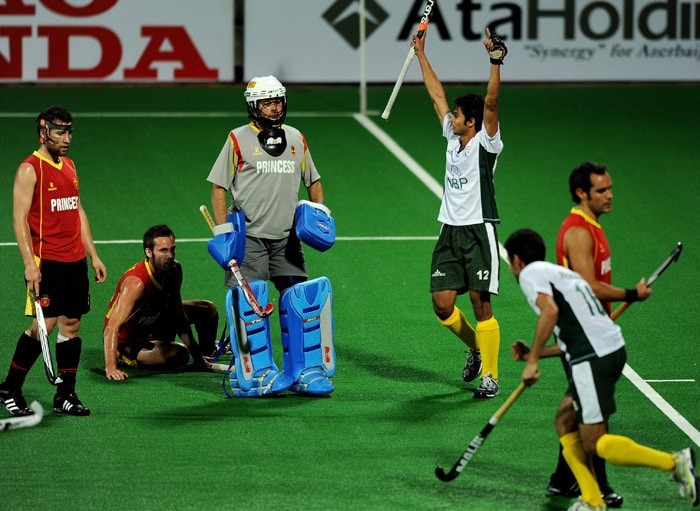 Pakistani hockey player Abdul Haseem Khan reacts after scoring a goal against Spain during their World Cup 2010 match at the Major Dhyan Chand Stadium in New Delhi. (AFP Photo)