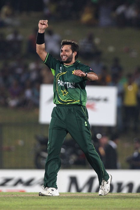 Shahid Afridi of Pakistan celebrates one of his five wickets during the Kenya vs Pakistan 2011 ICC World Cup Group A match at the Mahinda Rajapaksa International Cricket Stadium. (Getty Images)