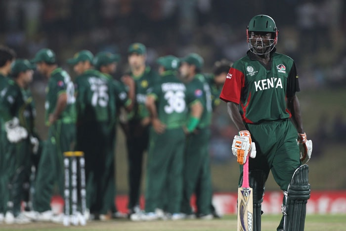 Jimmy Kamande of Kenya walks dejectedly to the pavillion after being dismissed by Shahid Afridi during the Kenya vs Pakistan 2011 ICC World Cup Group A match at the Mahinda Rajapaksa International Cricket Stadium. (Getty Images)