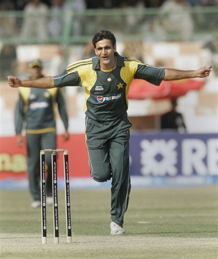 Rao Iftikhar celebrates after taking the wicket of Kumar Sangakkara during their first One-Day International at National Stadium in Karachi on January 20, 2009.