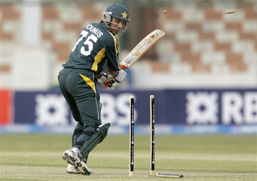 Younis Khan looks at bails shattered by Nuwan Kulasekera during their second ODI match at National Stadium in Karachi on Wednesday. (AP Photo)