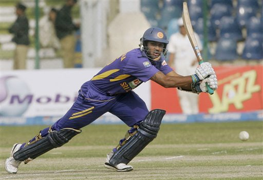 Chamara Kapugedera plays a shot for boundary against Pakistan during their second ODI match at National Stadium in Karachi on Wednesday. (AP Photo)