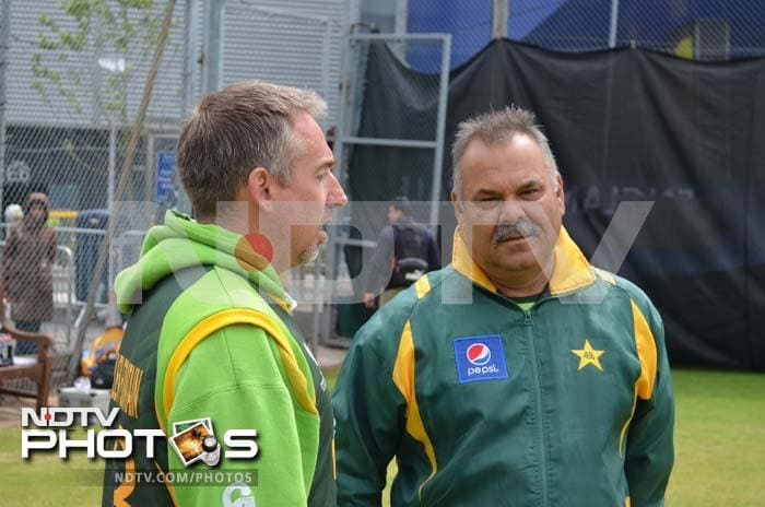 Whatmore is seen here with batting coach Trent Woodhill.