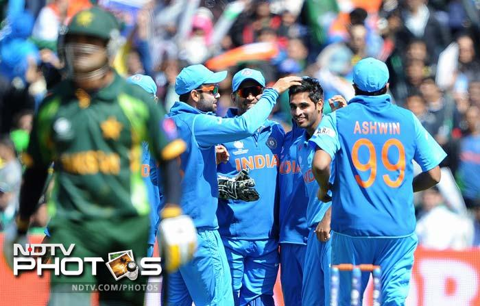 Mohammad Hafeeez replaced Jamshed in the middle and played well for his 31-ball 27. He even hit five boundaries but Bhuvneshwar struck once again just as a fightback seemed round the corner.