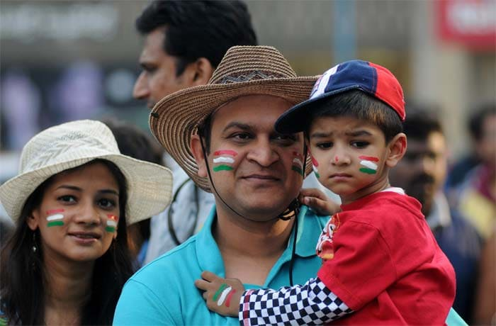 Early start: They say there is no age to enjoy an India vs Pakistan match. This little boy would perhaps vouch for that. (BCCI image)