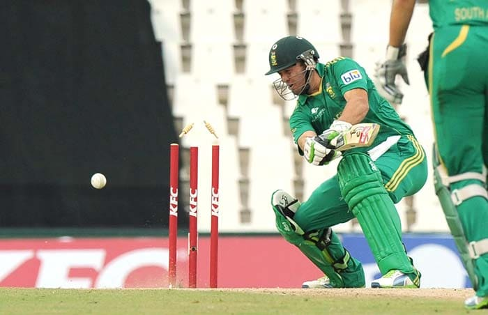 De Villiers though was castled eventually by Mohammad Irfan (unseen) to leave the rest of the batting card in shambles.