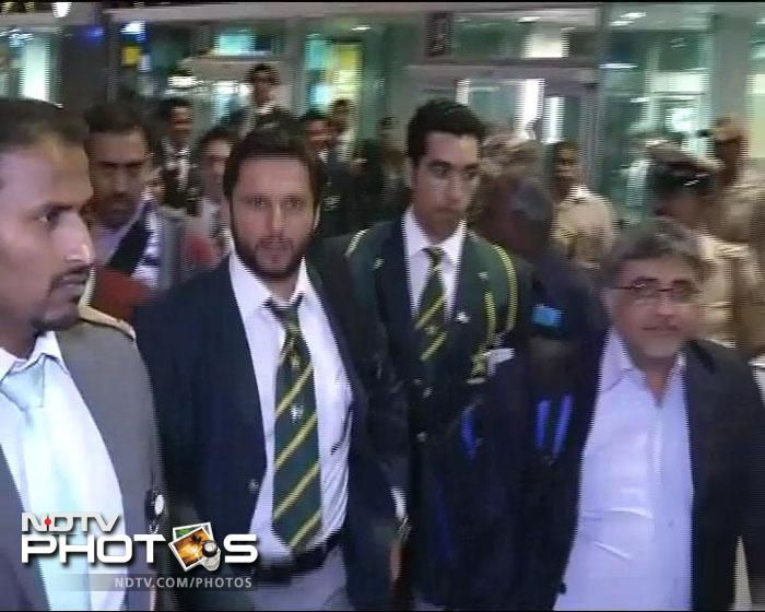 Shahid Afridi at the Bangalore Airport as the team head for their hotel. They stopped over in Delhi for two hours before taking a connecting flight. (ANI Photos)