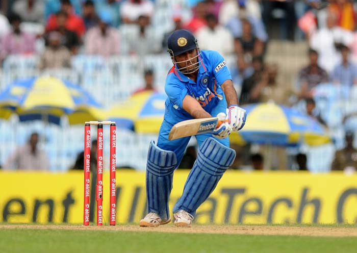 MS Dhoni (113*) though consolidated for the hosts and hit fluid shots to repair the innings. (Image courtesy: BCCI)