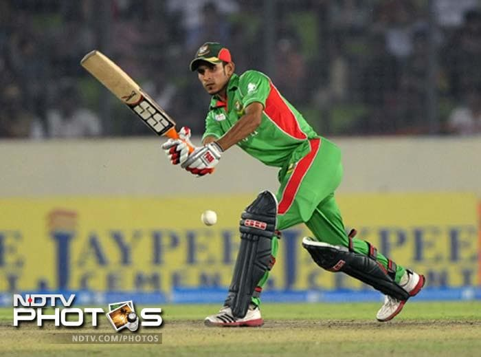 Bangladeshi batsman Nasir Hossain plays a shot during the one day international (ODI) Asia Cup cricket final match between Bangladesh and Pakistan at The Sher-e-Bangla National Cricket Stadium in Dhaka.