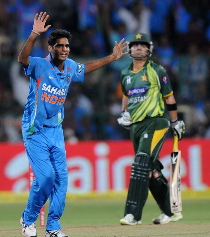 They got just that as Bhuvneshwar Kumar struck three lethal blows and left Pakistan reeling at 12/3 in 3 overs. The tourists had their backs against the wall as the target of 134 loomed large over their heads. (BCCI Photos)