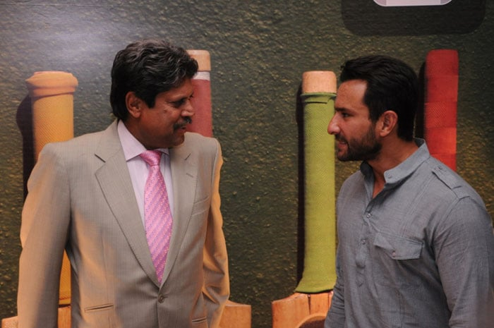 Pataudi's son and Bollywood actor Saif Ali Khan is seen here talking with former India captain Kapil Dev.