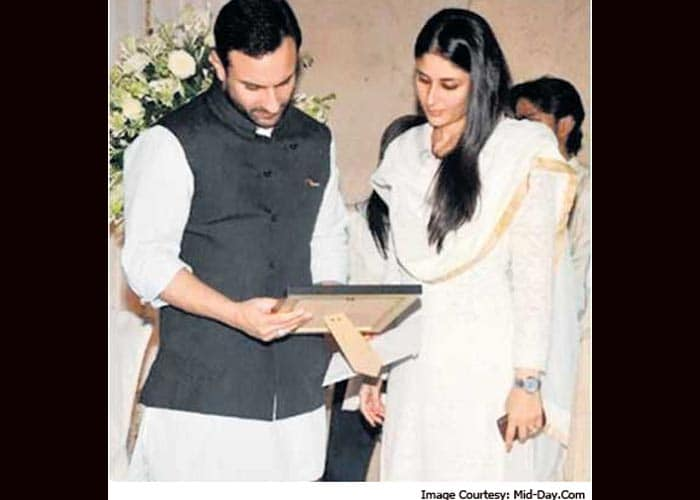 Saif Ali Khan with Kareena Kapoor at the prayer ceremony for his late father Mansur Ali Khan Pataudi in New Delhi this weekend.