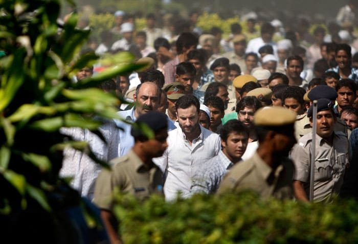 "Saif Ali Khan at his father's funeral. He said: ""I would like to thank everyone for their kind wishes, I would also like to say that he would have been really touched by the support and the wonderful things that the media has said and to thank all his contemporaries and his fellow cricketers who have written such beautiful things in the papers and indeed all his friends who've passed on their wishes to us. As a family we thank you for your support."""