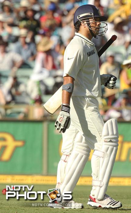 Sachin Tendulkar too could not last against young Starc although he was not too pleased with the LBW decision against him on 8.