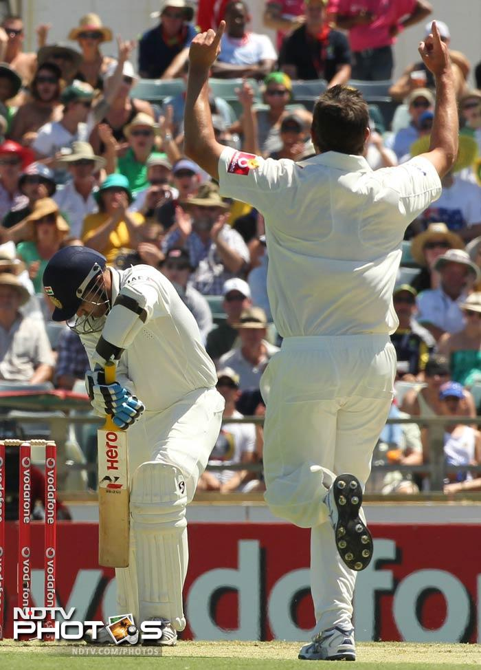 Virender Sehwag was the first to go, falling for a duck to Ben Hilfenhaus.