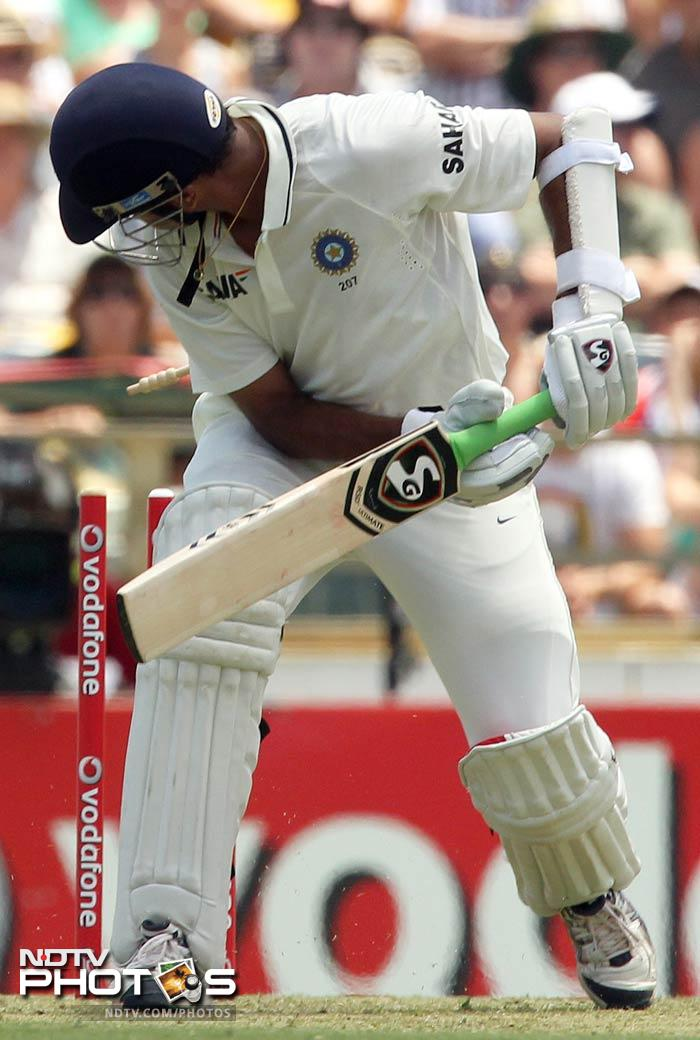 Rahul Dravid was again castled, in the process equalling Allan Border's unwanted record of being bowled out 53 times in his career.