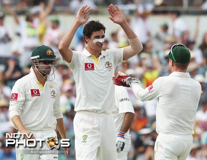 New inclusion Mitchell Starc was impressive and was finally rewarded with two wickets at the end of the Indian innings.