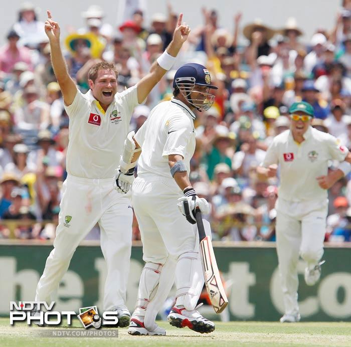 Sachin Tendulkar again looked in good nick, hitting some beautiful drives before being trabbed lbw on 15 by Ryan Harris.