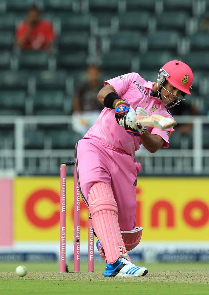 The South African batsmen sported as much pink in their attire. One witnessed batsmen walk out with pink helmets too.