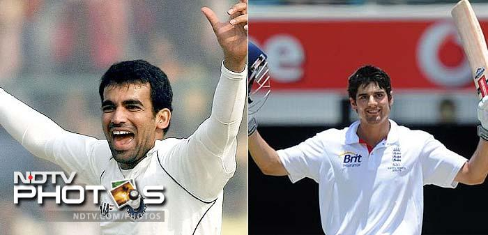 Role-reversal: Zaheer Khan will lead India's pace battery in the series and will look to remove the most formidable commander of the opposition's batting line-up - Alastair Cook. Cook comes with 133, 96, 106 and 55 from the previous Test series.