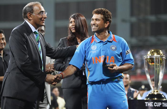 Sachin Tendulkar receives the winners medal from ICC Chief Executive Haroon Lorgat. The match on Saturday may well have been his last appearance in a World Cup.