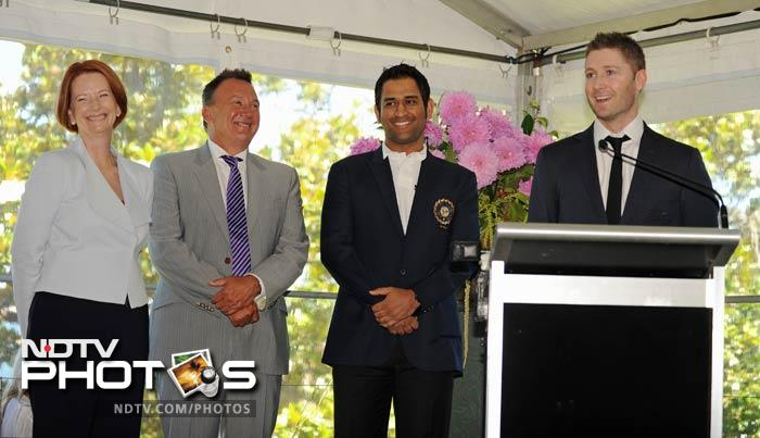 Australian Prime Minister Julia Gillard had invited the Indian and Australian players to the Kirribilli House where she hosted a high tea in their honour. (AFP Photo)