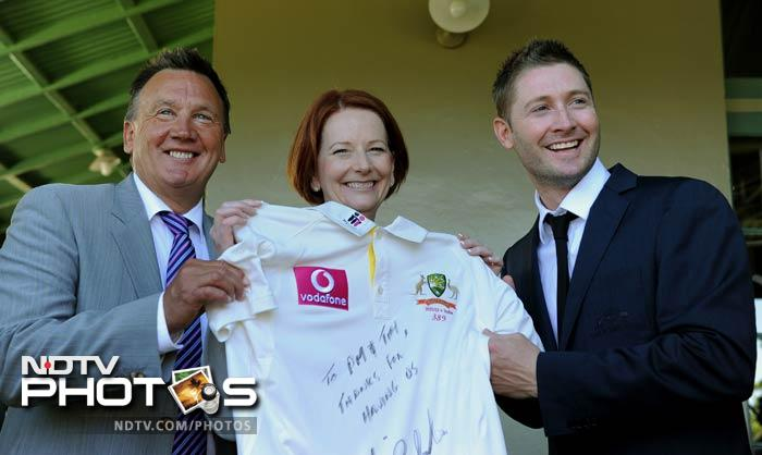 Ms Gillard wished Indian cricket maestro Sachin Tendulkar his 100th ton in the course of the ongoing Test series between the two countries. The Aussie captain Michael Clarke, however, said he hoped the amazing Sachin Tendulkar scores his 100th ton in his next series and not against them. (AFP Photo)