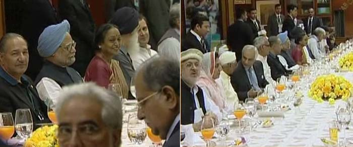 From stuffed meat to <i>ghosht palak sag</i> to <i>shahi idly</i> -- it was a lavish spread of North and South Indian cuisine.<br><br>For starter, the guests that included Congress President Sonia Gandhi, her son Rahul Gandhi and ICC chief and Agriculture Minister Sharad Pawar and Pakistan Interior Minister Rehman Malik had carrot soup (<i>gajar ka shorba</i>).