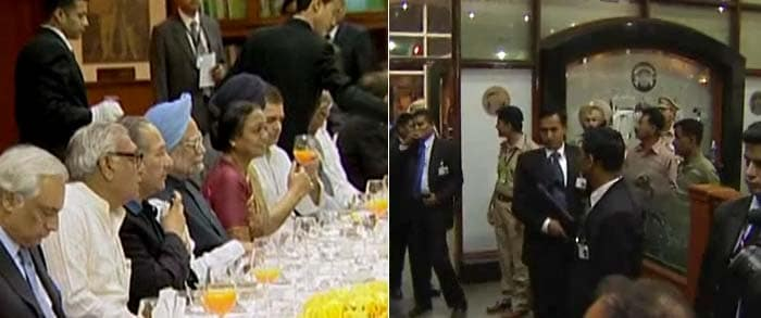 The dignitaries rounded off their dinner with apple cinnamon crumble, <i>kesar phirni</i> and fresh fruits. The dinner at the Club House of the Punjab Cricket Association stadium at Chandigarh saw a mixed seating of the guests with Sonia Gandhi seated in between Gilani and Rehman Malik.