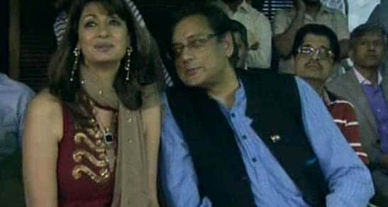 Former Minister of state for External Affairs Shashi Tharoor and wife Sunanda Pushkar Tharoor at the PCA stadium.