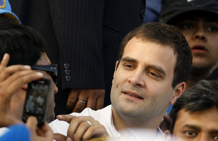 Rahul Gandhi watched the slog overs of the India innings from a non-VIP stand. (AP Photo)
