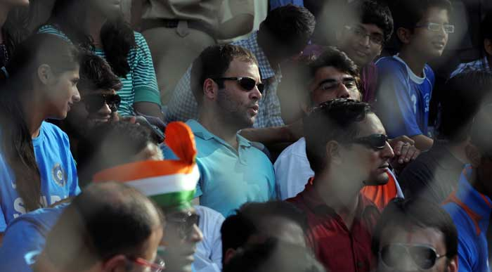 Rahul Gandhi watches the World Cup final in Mumbai.<br>(Photo: AFP)