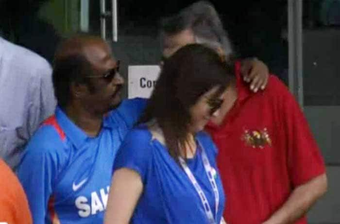 Rajinikanth roots for Team India, complete with the India jersey.