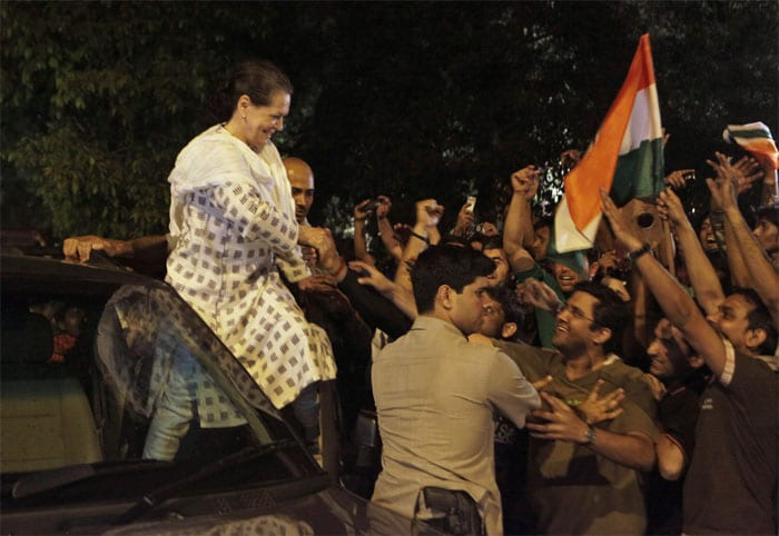 Congress President Sonia Gandhi with the fans. (Photo: AP)