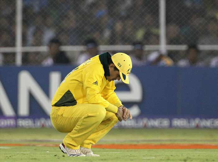 <b>2011, March 24:</b> Australia are knocked out by India in the World Cup quarter-finals, ending a 12-year reign as champions. Ponting earlier fined for smashing a dressing-room TV in anger at being run out by Zimbabwe